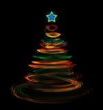 Luminous christmas tree light painting Royalty Free Stock Photos
