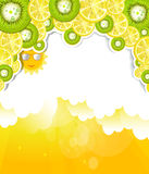 Luminous cloudy background with elements of kiwi a Royalty Free Stock Images
