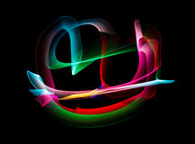Luminous colors of rainbow trail, on black. Background. Isolated vector illustration