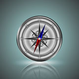 Luminous compass. Compass with specular reflection on a gray background Royalty Free Stock Photos