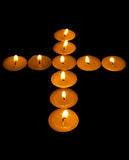 Luminous cross from candle Royalty Free Stock Image