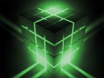 Luminous cube. Scene luminous cube executed in 3D Stock Photos