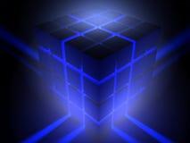 Luminous cube. Scene luminous cube executed in 3D Stock Photo