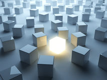 Luminous cube. Individuality Royalty Free Stock Photos