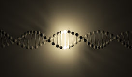 Luminous DNA. 3d illustration, on black background Royalty Free Stock Photo