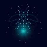 Luminous firefly icon. Firefly bug logo design template. Luminous firefly. Firefly with luminous nodes at the intersections of the ribs. Flying bug glowworm Stock Photography