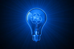 Luminous ideas for recycling. A conceptual 3D illustration for ideas that are related to recycling Stock Image