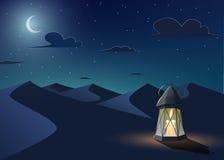 Luminous lantern stands in the desert. Luminous llantern stands in the desert at night sky with an crescent moon.Cartoon style.Ramadan Kareem vector illustration Royalty Free Stock Images