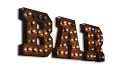 Luminous letters BAR. Volumetric letters of rusty metal on a transparent background Royalty Free Stock Image