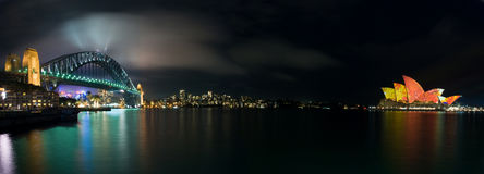Luminous Lighting Sydney Opera House Panorama Stock Photo