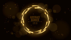 Luminous neon banner of golden color. Shining lights in motion with small particles. Glare bokeh. Flying motes and lights. Banners Stock Photos