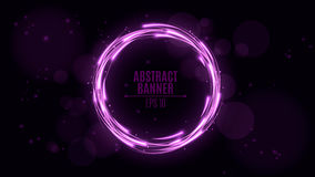 Luminous neon banner of purple color. Shining lights in motion with small particles. Glare bokeh. Flying motes and lights. Banners Stock Photography