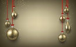 Golden luminous background with Christmas balls. Luminous New Year background with golden Christmas balls. Vector illustration.rrr Stock Images