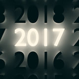 Luminous number. New Year concept. 2017 New Year and Merry Christmas concept. Luminous and dark number symbols on wall. 3D illustration Stock Images