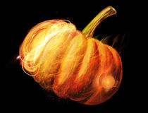 Luminous pumpkin. A digital picture is a luminous pumpkin on a black background stock illustration