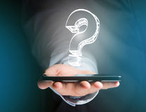 Luminous question mark displayed on a futuristic interface - Inn Royalty Free Stock Photography