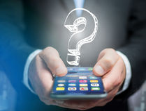 Luminous question mark displayed on a futuristic interface - Inn Royalty Free Stock Images