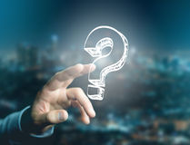 Luminous question mark displayed on a futuristic interface - Inn Stock Images
