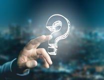 Luminous question mark displayed on a futuristic interface - Inn Stock Image