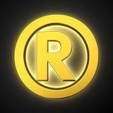 Luminous Registered sign. Big golden luminous registered sign on black Stock Image