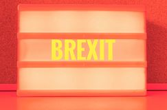 Luminous sign with inscription in German Brexit, symbolizing the withdrawal of Great Britain from the EU.  royalty free stock photos