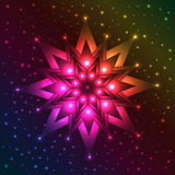Luminous snowflake on spectrum background with plenty of sparkles Stock Photography
