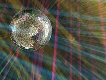 Luminous sphere in a disco Stock Photography