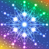 Luminous star with lights on its rays on multicolored background with plenty of sparkles. Abstract luminous star with lights on its rays on multicolored Stock Photo