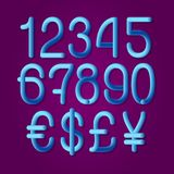 Luminous tubular numbers with currency signs of American dollar, euro, British pound, Japanese yen. Vector symbols.  stock illustration