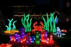 Free Luminous Underwater Cartoons In Park At Christmas By Night Stock Photos - 136672703