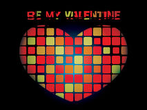 Luminous valentine mosaic heart. On black background Royalty Free Stock Photo