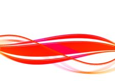 Luminous wavy red lines. Abstraction from luminous red lines on a white background Stock Photo