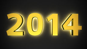 Luminous 2014 Year. Big golden luminous digits of new year on black Stock Photography