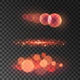 Lumière rouge d'or de bokeh avec l'effet de fusée de lentille Photo stock