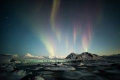 Lumières du nord au-dessus du glacier arctique d'eau de marée - le Spitzberg, le Svalbard Photo libre de droits