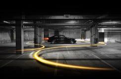 Lumières et voiture noire, coupé de BMW E46 Images libres de droits