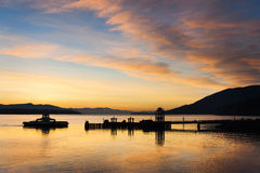 Lummi Island Sunrise. An incredible sunrise greets commuters on an island in the Puget Sound area of western Washington State Royalty Free Stock Photos