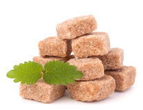 Lump brown cane sugar cubes Stock Photography