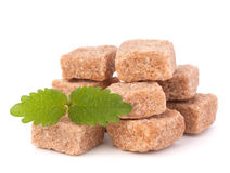 Lump brown cane sugar cubes Royalty Free Stock Photos