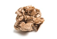 Lump of crumpled paper isolated. On white background stock photography