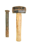 Lump hammer and chisel. Well used lump hammer and cold chisel isolated on white royalty free stock photo