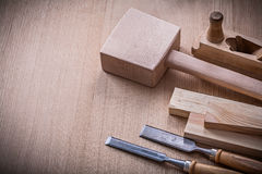 Lump hammer shaving plane metal flat chisels and Royalty Free Stock Photos