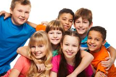 Lump of happy kids. Group of happy diversity kids smiling and laughing Caucasian and black kids stock photo