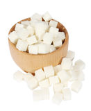 Lump sugar in a wooden mortar Royalty Free Stock Photo