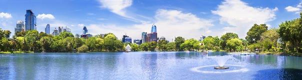 风景都市风景曼谷Lumphini公园 免版税库存照片