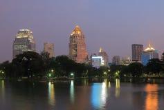 Lumphini Park Bangkok cityscape night Stock Photography