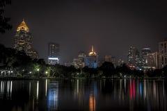 Lumphini park Bangkok downtown city at night. Thailand Royalty Free Stock Images