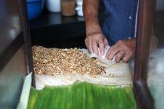 Lumpia / lunpia seller is making the dough Stock Photo