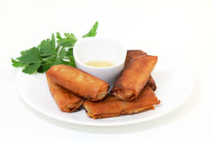 Lumpia Spring Rolls - Filipino Food. Fried vegetable lumpia or spring rolls with vinegar dip on white plate stock photography