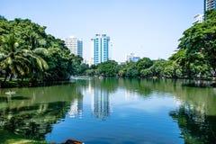 Lumpine park ,. Pond in the park, Lumpini, Bangkok Royalty Free Stock Image